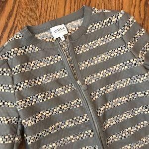 Armani leather weave zip jacket gray cream $1200